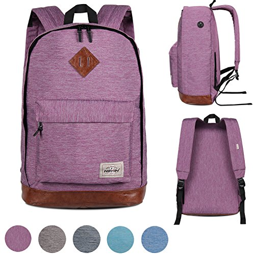 Casual Leather Student Knapsack College Daypack Laptop Bag for Men Outdoor
