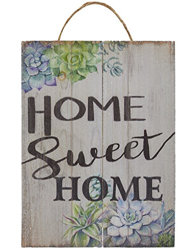 Juvale Home Sweet Home Wall Ornament, Wooden Hanging Decoration Flower Design, Natural DecorLiving Room, Hallway Front Yard, 8 x 5.9 x 0.9 inches