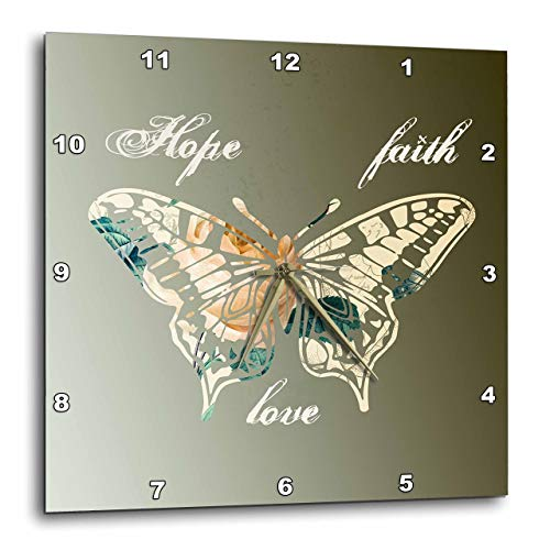 3dRose DPP_155872_2 Hope, Faith Love Gold Butterfly Inspirational Art Wall Clock, 13 by 13