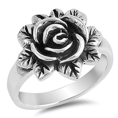 - Oxidized Rose Flower Leaf Vintage Ring New .925 Sterling Silver Band Size 8
