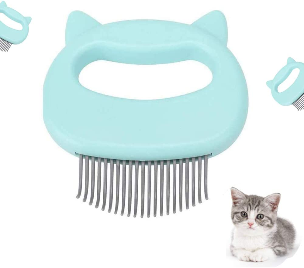 Green Afocuz Cat Massage Comb Pet Cat Dog Hair Removal Shell Comb Grooming Hair Removal Cleaning Comb Massager Tool