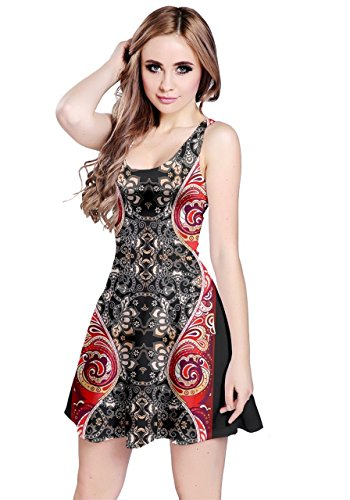 CowCow Womens Red Damask Sleeveless Dress, Red - -
