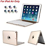 iPad Air Keyboard Case, iEGrow Slim Bluetooth Clamshell Keyboard Case with 7 Colors LED Backlit for iPad Air 1 (Gold)