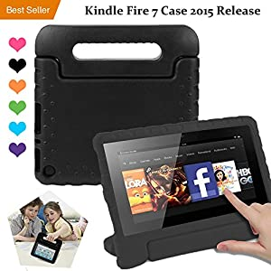 Amazon Kindle Fire 7 Case Tablet Kid-Proof (5th Generation 2015 Release Edition) kickstand EVA Shockproof Lightweight Folio Handle Stand Cover 7 inch for Kids Boys Girls Black CAM-ULATA