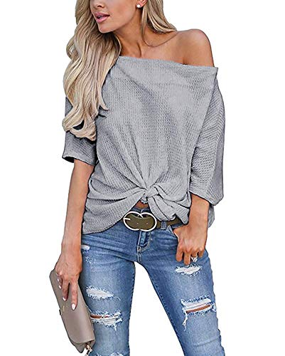 Womens Knot Front Off The Shoulder Tops Waffle Knit Batwing Sleeve Loose Oversized Pullover Shirts Blouse Grey Large