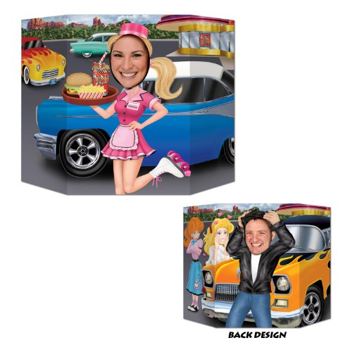 Car Hop/Greaser Photo Prop (1 side car hop; other side greaser) Party Accessory  (1 count) (Car Hop Stand)