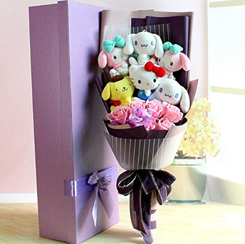 GuGuDas Toy Cute My Melody Hello Kitty Animal Flower Bouquet Creative Child Gifts (A (No Box))]()