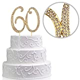 LUTER Number 60 Cake Topper | Sparkly Crystal Diamond Rhinestones | Birthday or Anniversary or Party Decoration Supplies | Best Keepsake (Gold 60)