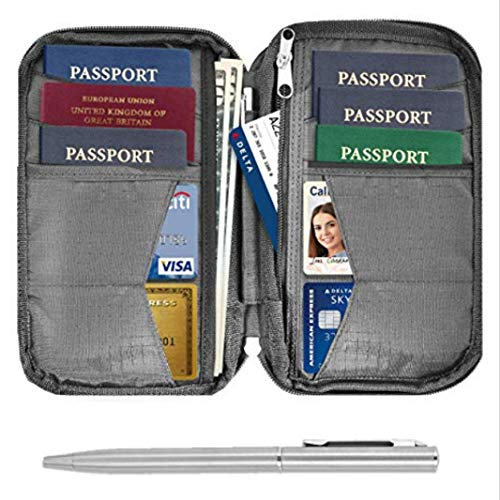 Travel Wallet & Family Passport Holder RFID Blocking Document Holder & Organizer Protects Your Passports (Grey)
