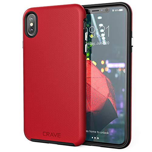 iPhone Xs Max Case, Crave Dual Guard Protection Series Case for Apple iPhone Xs Max (6.5 inch) - Red
