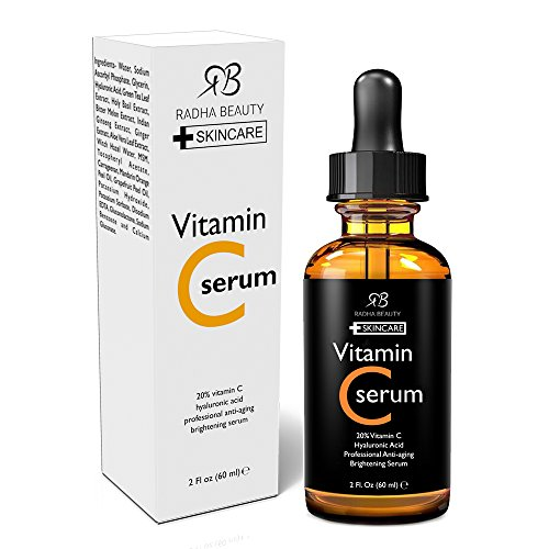 Radha Beauty Vitamin C Serum for Face, 2 fl. oz - 20% organic Vit C + E + Hyaluronic Acid - can also be used on the eye area