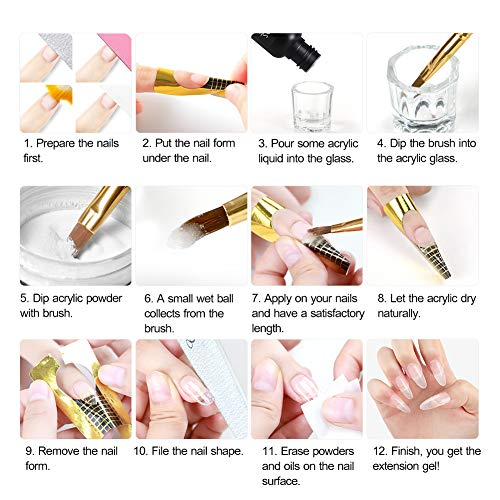 Acrylic Nail Kit Nail Acrylic Powder Glitter Nail Art False Nail Tips Decoration Tools Manicure Set