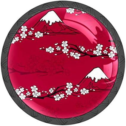 取っ手 引き出しハンドル 富士山 桜 赤い 和風 把手 家具ハード 食器棚ワード ワードローブ 耐久性 飾り 4個セット 収納ケース付き