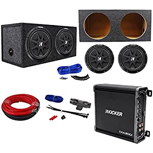 "Package: (2) KICKER 43C124 Comp 12"" Car Subwoofers Totlaing 600W + Kicker 43CXA3001 300W RMS Class D Car Amplifier + Ampn Kit + Sealed Sub Enclosure + Dual Enclosure Wire Kit w/ 14 Gauge Speaker Wire"