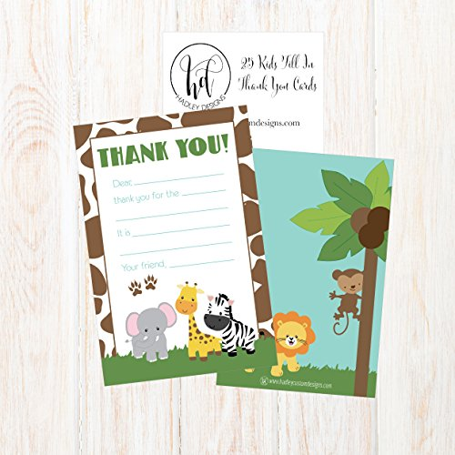 25 Jungle Kids Thank You Cards, Fill In Thank You Notes For Kid, Blank Personalized Thank Yous For Birthday Gifts, Stationery For Children Boys and Girls Photo #3