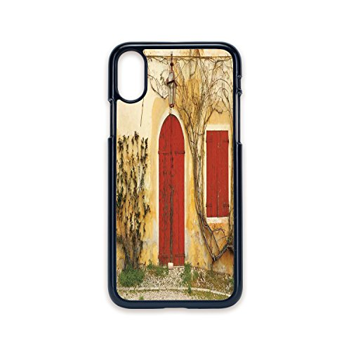 Phone Case Compatible with iPhone X 2D Print Black Edge,Shutters,Doorway with Blinded Door and Window to The Rural Tuscan House Italy Europe,Beige Yellow Red,Hard Plastic Phone Case
