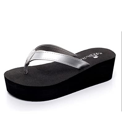 7231ae4f80e1 Flip Flop High-Heeled Word Slippers Female Summer Fashion Anti-Landslide  with Slippers Beach Sandals Thick Sandwich Feet Wear Cool Slippers (6  Colors ...