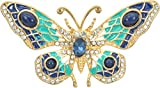 Gyn&Joy Womens Gold Plated Painted Crystal Butterfly Brooch Pin Pendant BZ096