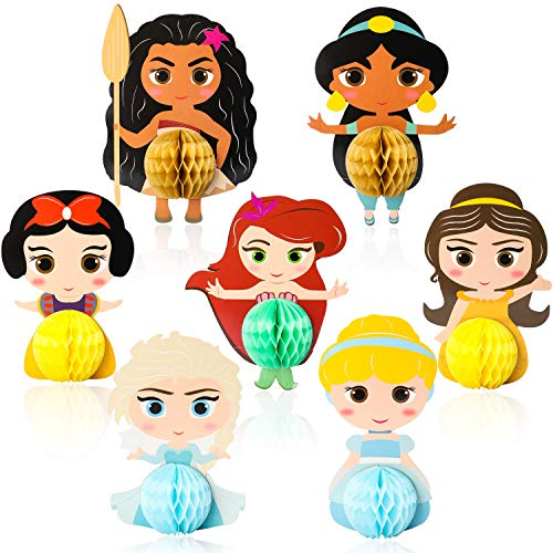 Princess Centerpiece Ideas (Ticiaga Princess Party Favors, 7pcs Cartoon Princess Honeycomb Centerpieces Table Topper for Birthday Party Decoration, Double Sided Princess Cake Topper, Photo Booth Props, Princess Party)