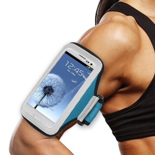 Blue Mybat Armband Sports Running Carry Case Workout Gym Gear Cover Pouch for HTC Desire 510 + Keychain Tool