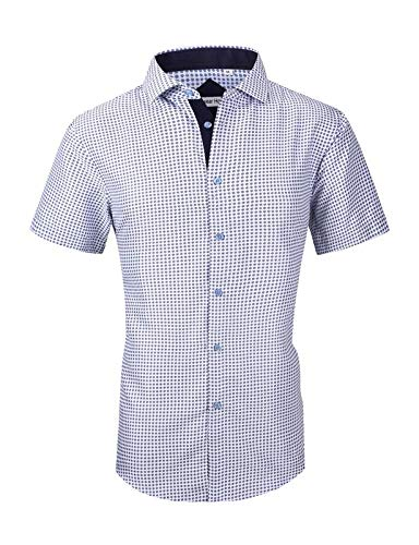 Mens Long Sleeve Printed Dress Shirts Casual Button Down Regular Fit Men Shirt (short-grey02 L