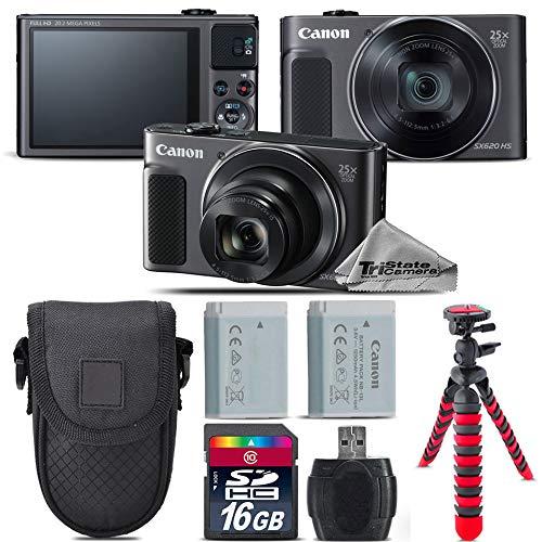 Canon PowerShot sx620 HSデジタルカメラ(ブラック) + 16 GBクラス10メモリカード+バックアップバッテリ+ Point & Shootカメラケース+カードリーダー+三脚+スクリーンプロテクター – インターナショナルバージョン   B0723G1MLT