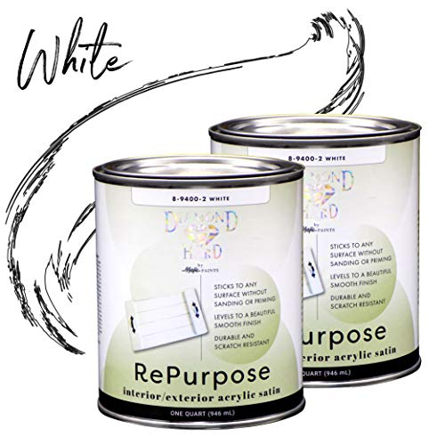 Majic Paints 8-9400-22 Diamond Hard Interior/Exterior Satin Paint, RePurpose your Furniture, Cabinets, Glass, Metal, Tile, Wood and More, White, - Exterior Latex Satin