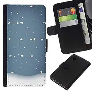 KLONGSHOP // Tirón de la caja Cartera de cuero con ranuras para tarjetas - Invierno Blanco Azul Nostálgico - LG Nexus 5 D820 D821 //