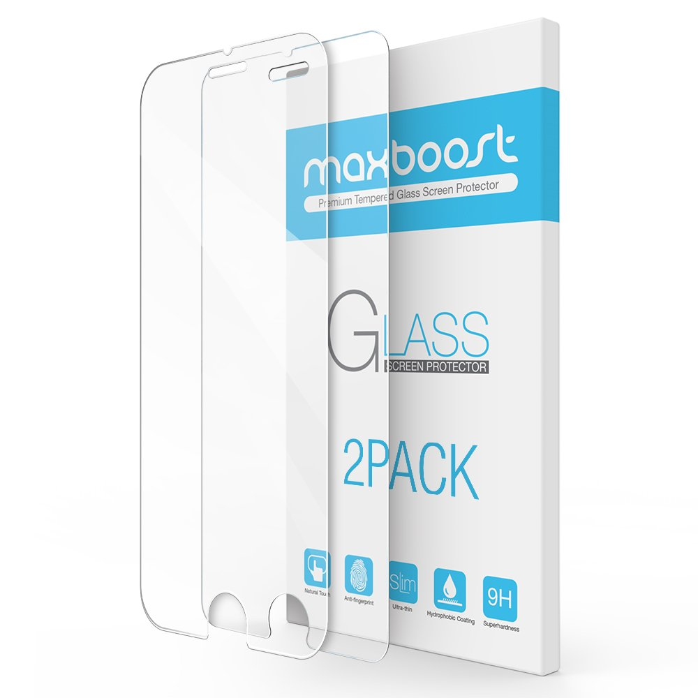 iPhone 7 Plus Screen Protector, Maxboost 2 Pack Tempered Glass Screen Protector