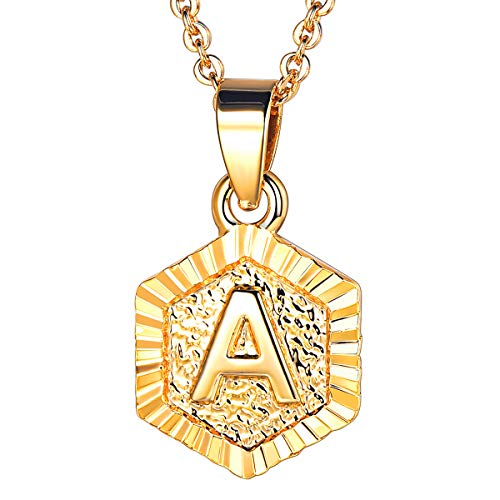 Initial Letter Pendant Necklace Girls Womens Yellow 18K Gold Plated Hexagon Script Capital Initial Jewelry Stainless Steel Ajustable Gold Link Chain 20 Inch Monogram Necklace Gift( Alphabet A)
