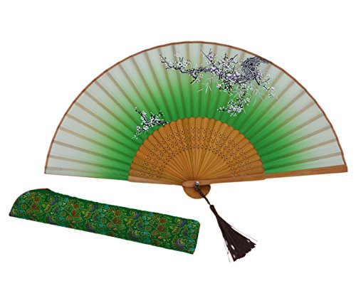 "Amajiji Chinease/Japanese Vintage Retro Style Women Folding Fan Hand Fan with Tassel Perfect For Gifts HQJ (8.27"") (Green)"