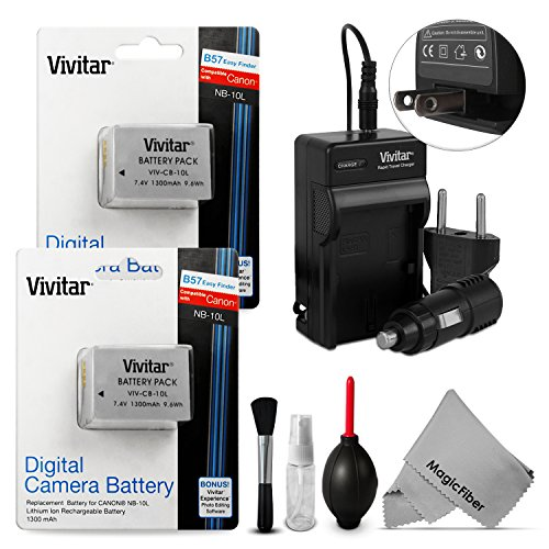 Vivitar NB-10L Battery and Charger Kit for Canon PowerShot S