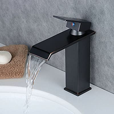 Beelee Bathroom Sink Faucet Deck Mounted Waterfall Brass Oil Rubbed Bronze Sink Mixer Faucet - Black Color