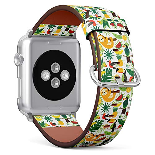 S-Type iWatch Leather Strap Printing Wristbands for Apple Watch 4/3/2/1 Sport Series (42mm) - Tropical Pattern with Exotic Birds Tucan, Sloth and Pineapple, Watermelon