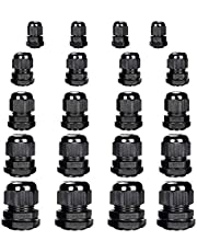40 pcs Cable Gland Nylon Plastic Waterproof Adjustable, Cable Glands Joints Wire Protectors -Pg7, Pg9, Pg11, Pg13.5, Pg16 ?8 Cable Glands per Size?by Yesallwas