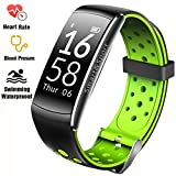 Fitness Tracker IP68 Swimming Waterproof Smart Bracelet with Sleep Monitor Heart Rate Monitor Pedometer Calorie Counter Sports Watch Call ID display Touch Screen for iPhone and Android (Black + Green)