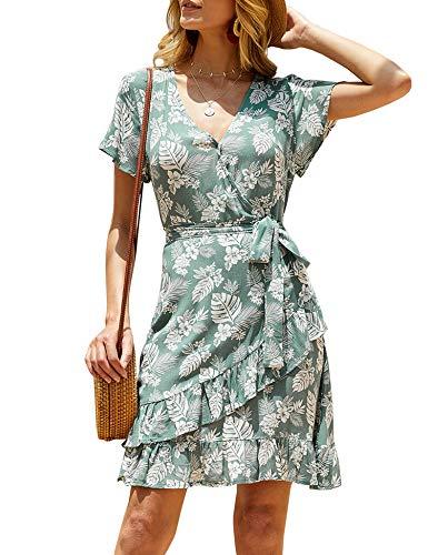 - imesrun Womens Wrap V Neck Short Sleeve Shirt Dress Print Tie Waist Ruffle Casual Swing Dress A-line Green Medium