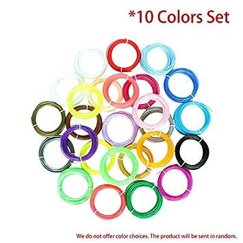 ARTUTE Lote de 10 filamentos de Colores para Impresora 3D, 1,75 mm ...