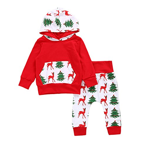 Baby Boys Girls Merry Christmas Clothing Set--Deer&Tree Print Long Sleeve Hoodie Tops+Long Pants 2pcs Outfit (18-24 Months, Red) (Childrens Clothes Tree)