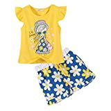 LittleSpring Little Girls' Shorts Set Little Girl Printing Size 4T Yellow