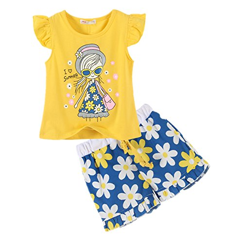 LittleSpring Little Girls' Shorts Set Little Girl Printing Size 6 Yellow (Short Little Girls)