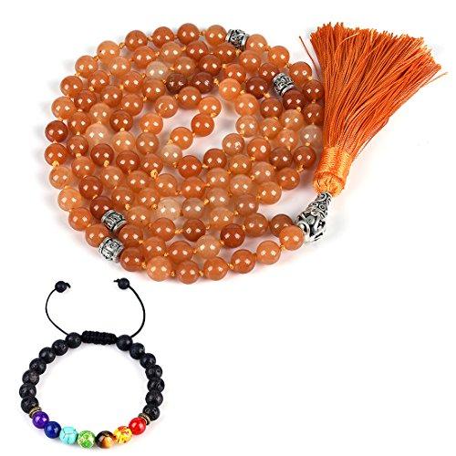 (CAT EYE JEWELS 8mm Mala Beads Necklace Yoga Meditation 108 Hand Knotted Orange Aventurine Japa Mala Buddhist Prayer Beads Tassel Necklace Healing Lava Rock Beads Diffuser)