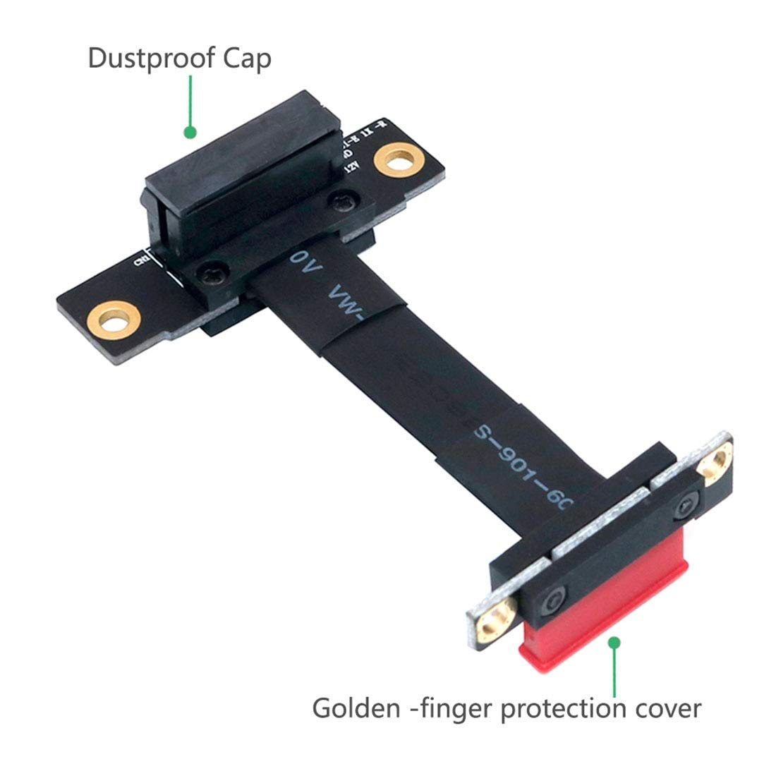 JMT PCI-E PCI Express 36PIN 1X Extension Cable Gold-Plated Dual Vertical 90 Degrees for 1U 2U ATX//BTX Chassis PC