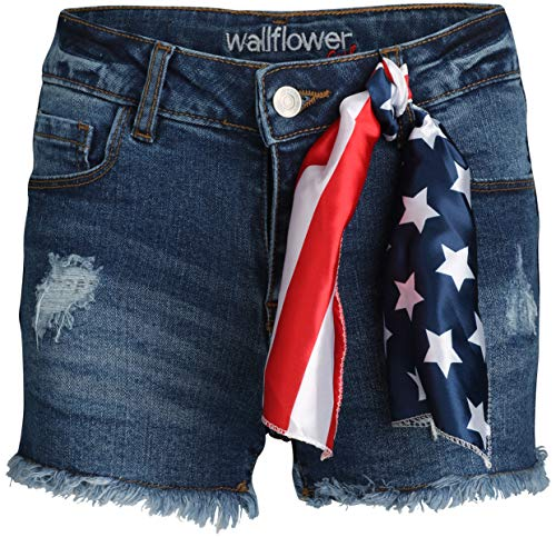 'WallFlower Girls Soft Strech Denim Shorts (Medium Dark Wash, 7)'