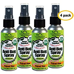 US Organic Mosquito Repellent Anti Bug Outdoor Pump Sprays, 2 Ounces Travel Size Pack of 4, USDA Certification, Cruelty Free, Proven Results by Lab Testing, Deet-Free