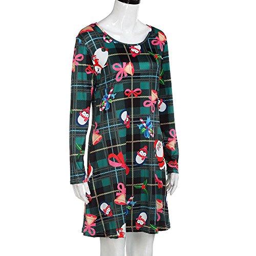 Rosennie Damen Santa Weihnachtskleid Drucken Swing Kleid Rundhals ...