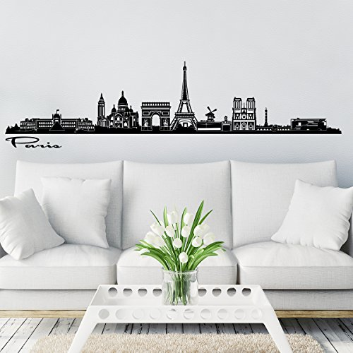 Wandkings Skyline Wall Sticker Wall Decal - 48 x 10 inch in Black - Your City Selectable - Paris -
