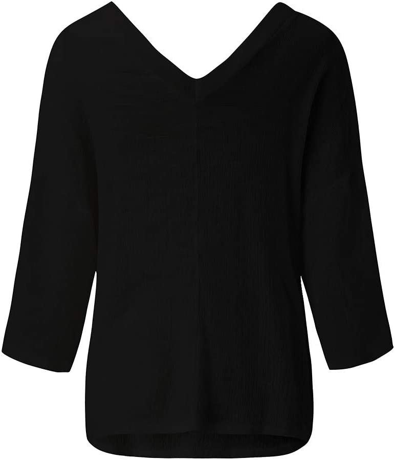 Yezijin Womens Casual V-Neck Long Sleeve Soild T-Shirt Loose Tops Blouse 2019 Under 10 Womens Blouses and Tops for Work