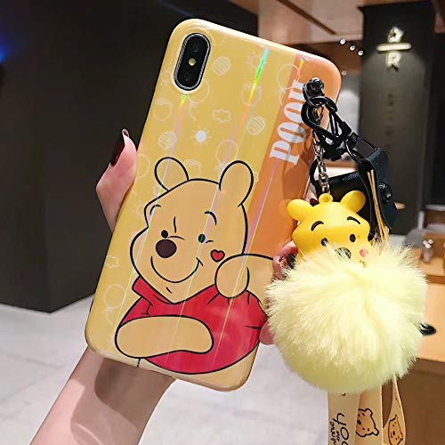 Twinlight Laser Cartoon Mickey Minnie Mouse Stitch Pooh Phone Cases for iPhone 7 8 Plus XS MAX XR X Cute Back Case Lanyard+Fox Ball (Yellow, for iPhone X XS)