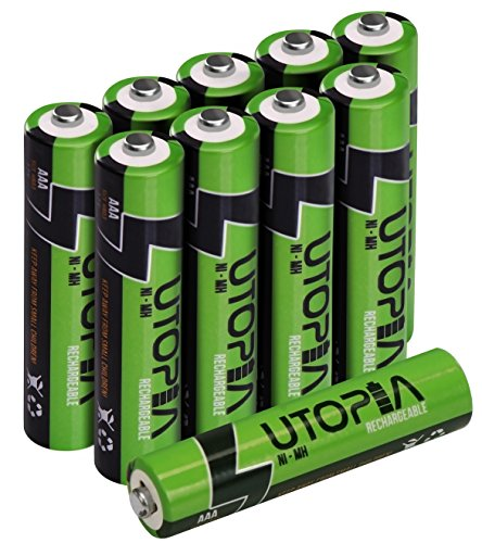 AAA Rechargeable Batteries - High Capacity - Pack of 10 - Pre-Charged - By Utopia Home